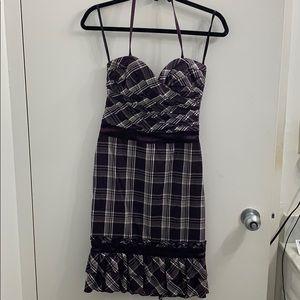 Bebe plaid form fitting purple dress